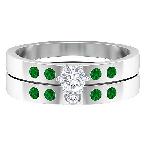 Anillo de boda solitario HI-SI 1/4 quilates redondo de diamante, 1/4 quilates anillo de esmeralda lateral, anillo de piedra de nacimiento de mayo, 14K Oro blanco, esmeralda-4, Size:EU 52