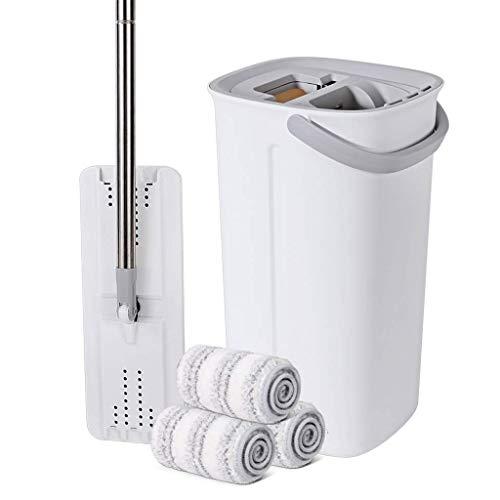 DFJU Conjunto de baldes de esfregona, 2 em 1 para lavagem a seco com esfregões Planos reutilizáveis, esfregões de pó Auto-torcidos fáceis para limpeza de Pisos