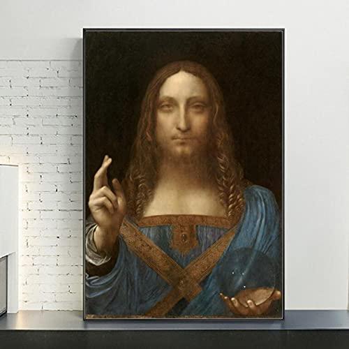 Cuadro de arte de pared de lienzo de Salvator Mundi, reproducciones de pinturas de Leonardo Da Vinci reproducción de bellas artes decoración del hogar 70x110cm sin marco