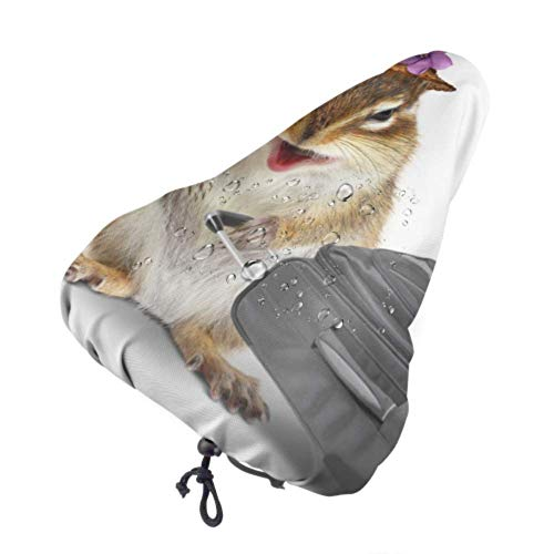 MOLLUDY Bike Seat Cover Bike Saddle Covers Waterproof and dustproof Seat Saddle Funny Traveler Animal Chipmunk Suitcase Isolated 27 * 24 cm