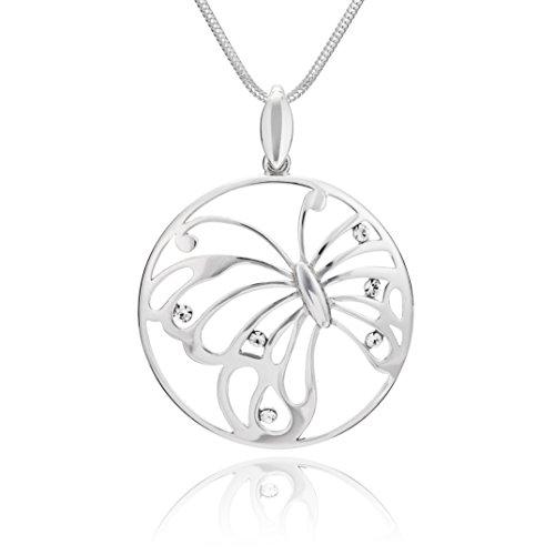 LillyMarie Collar largo de plata de ley 925 con colgante de mariposa de Swarovski Elements, longitud...