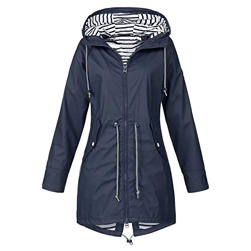 iHENGH Damen Herbst Winter Bequem Mantel Lässig Mode Jacke Frauen Herbst Langarm Mantel Fleece reißverschluss fliegen mit Kapuze einfarbig Sweatshirts(Marine, S)
