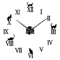 Hengyaai 3D Wall Clock, Cute Cat Frameless Wall Clock 24.8'' DIY Wall Clock Decorative Sticker Mirror Clock Kit for Home Living Room Bedroom Office Decoration Battery Operated (Black)