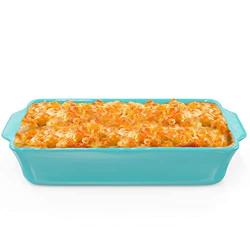 """Modern Ceramic Bakeware Dish 9x13"""" – Quality Stoneware Made in Portugal - Large Casserole Dish for Baking & Cooking – Oven & Freezer Safe – Individual Serving Rectangular Baking Pan for Cakes, Lasagna & More - Blue"""