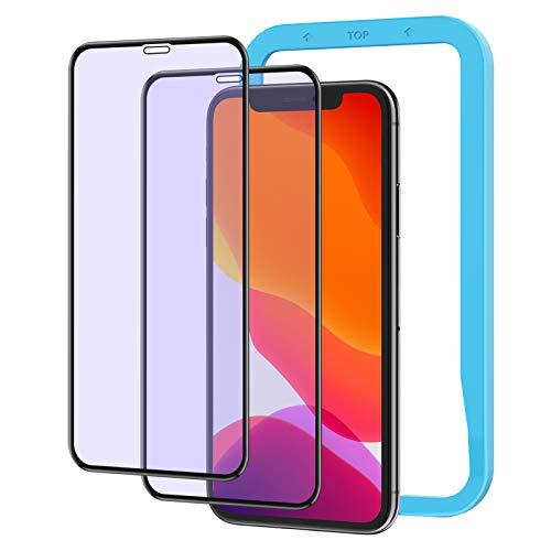 NIMASO ガラスフィルム ブルーライトカット iPhone11 iPhone XR 用 強化 ガラス 保護 フィルム 全面保護 ガイド枠付き 2枚セット