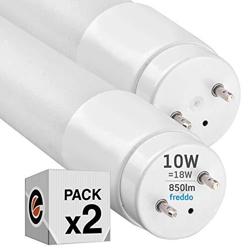 2x Tubi LED 60cm G13 T8 10W Professionale Garanzia 5 Anni 850 lumen - Luce Bianco Freddo 6400K - Fascio Luminoso 160° - Sostituzione Neon