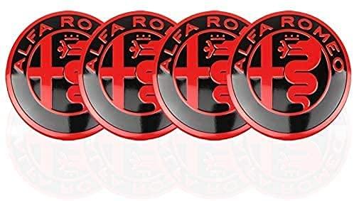 4 Piezas Coche Tapacubos, para Alfa Romeo Giulia Stelvio 159 147 156 166 GT MiTo 56mm Auto Protección Accesorios Prueba Polvo Impermeable Tapacubos