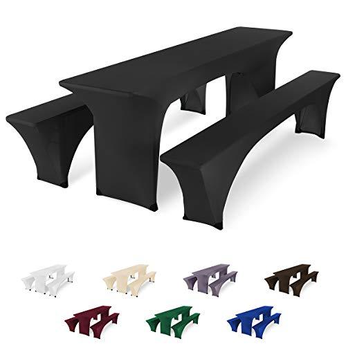 SCHEFFLER-Home Bierzeltgarnitur Hussen Stretch 3tlg. Set, für Tisch 50x220cm und Bänke, elastische Abdeckung, schwarz