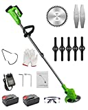 Cordless Weed Trimmers Battery Powered Lawn Edgers Electric, Adjustable Length , Powerful & Lightweight for Garden farmland Cut Grass Machine Edger Lawn Tool,Green