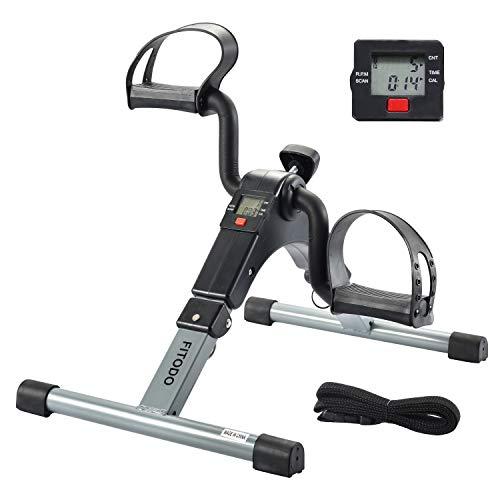 FITODO Heimtrainer Mini Fahrrad Minibike Pedaltrainer für Arm- und Beintrainer mit LCD-Monitor