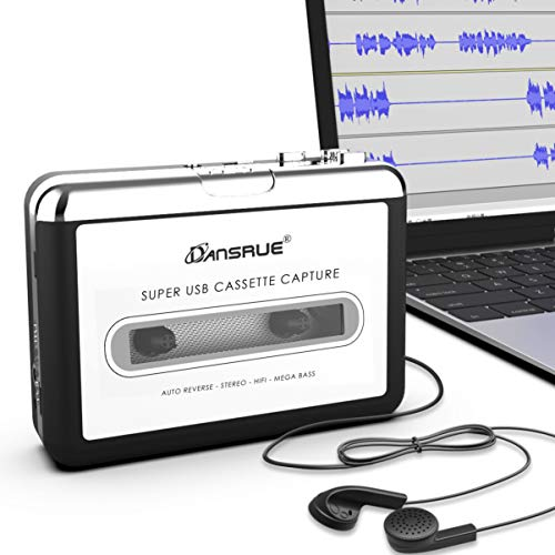 Updated Cassette to MP3 Converter, USB Cassette Player from Tapes to MP3, Digital Files for Laptop PC and Mac with Headphones from Tapes to Mp3 New