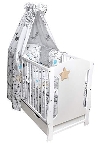 Cuna infantil con barandilla y colchón, con diseño de estrella
