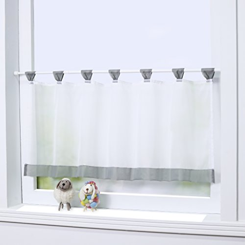 Joyswahl Bistrogardine Voile Schlaufen Scheibengardine Mia Küchen Transparenter Vorhang HxB 45x120cm Grau 1er Pack