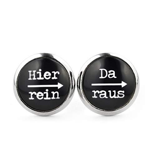 SCHMUCKZUCKER Damen Herren Unisex Ohrstecker mit Spruch Hier rein - da raus Lustige Edelstahl Ohrringe Silber Schwarz 12mm