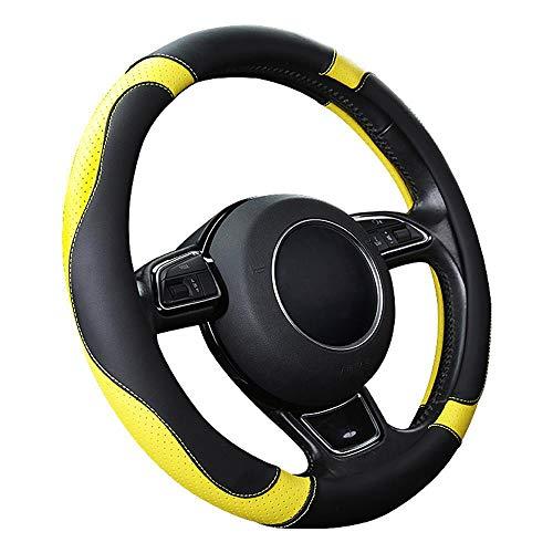 """SFONIA Auto Lenkrad Abdeckung Lenkradschutz Lenkradhülle Mikrofaser-Leder Universal 37-38cm/15""""Rutschfest Atmungsaktiv Langlebig (Gelb)"""