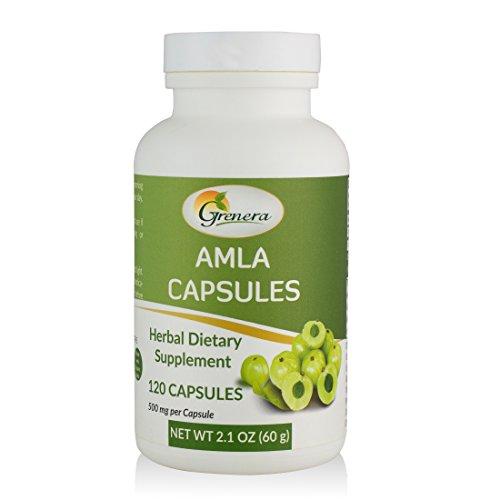 Grenera Organic Amla Capsules-120 Capsules- Made with Organic Amla Powder- High ORAC Value