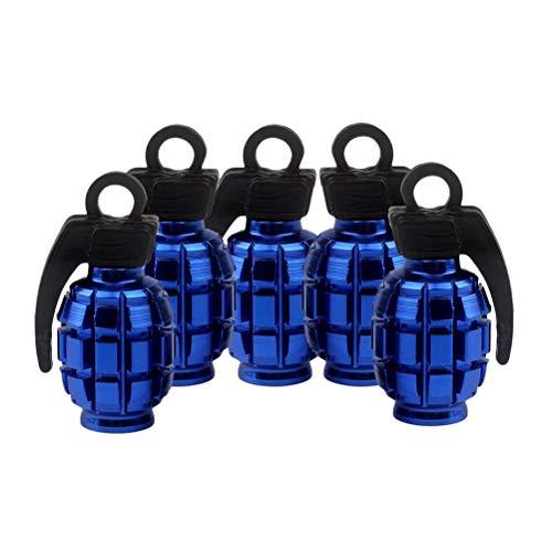 LIOOBO 5pcs Ventilkappen Metall Ventildeckel Granate Form Auto Reifen Vorbau Luftventilkappen Staubdicht Abdeckung für Roller Autos Bike Motorrad (Blau)
