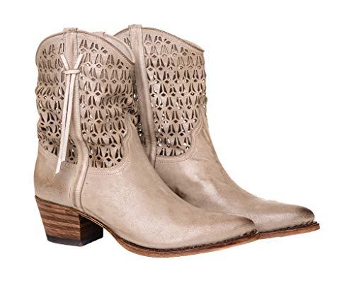 Sendra Boots 12536 laarzen met veters, geperforeerd en geborsteld, grijs