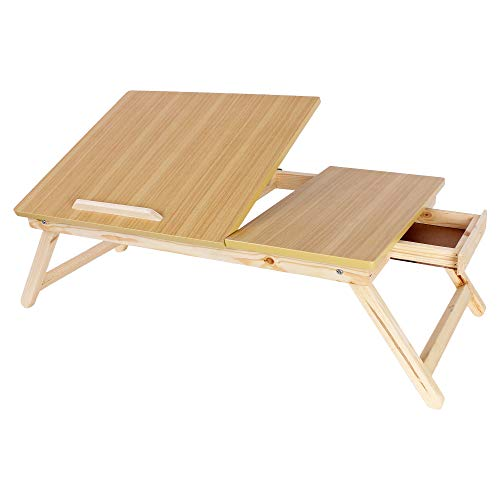 Maverick Smart Multipurpose Portable Foldable (Made in India) Laptop/Bed/Study/Activity Table with Tiltable Top and Drawer (Normal Wood, Half/Wood)