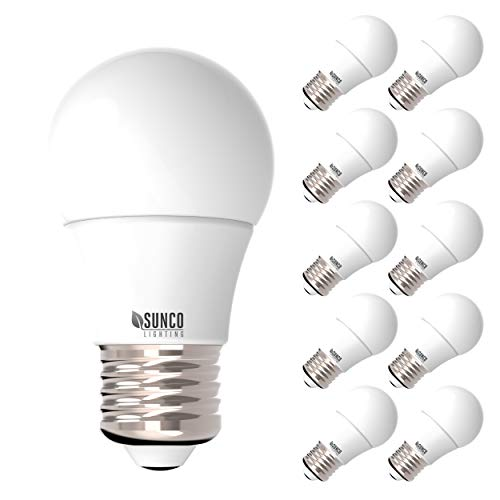 Sunco Lighting 10 Pack A15 LED Bulb, 8W=60W, 2700K Soft White, Dimmable, 800 LM, E26 Base, Refrigerator & Fan Light - UL, Energy Star