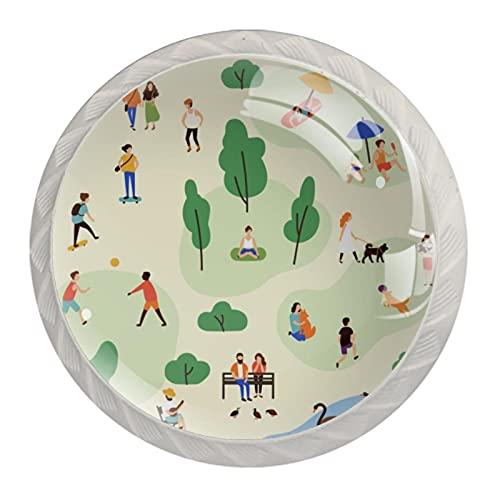 Perillas de camping, Ilustración de resina para cajones, pomos de armario, pomos decorativos para armario, juego de cuatro piezas