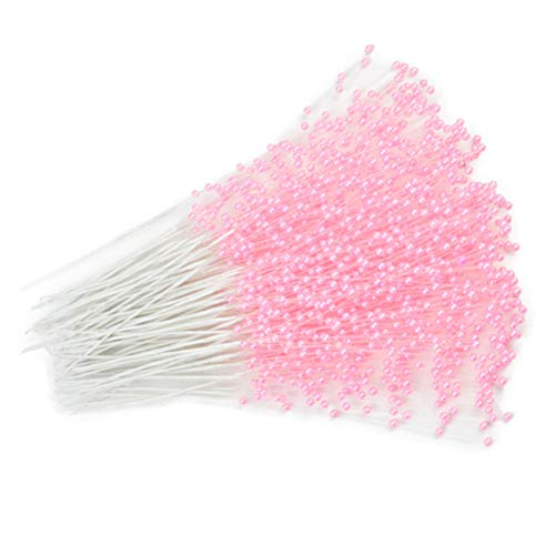 canjoyn 100 Stems Pearl Sticks Beading on Wire Stems for DIY Garland Bridal Wedding Pearl Bouquet Home Party Decor Craft (Pink)