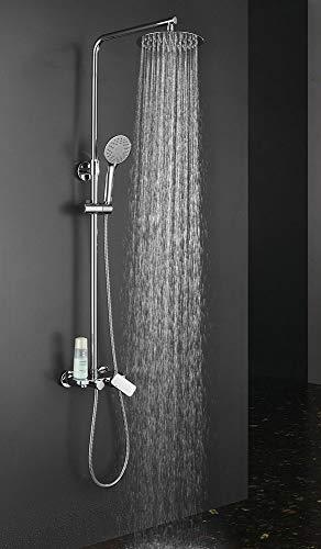 Columna de ducha extralarga redonda modelo DUA con grifo monomando con repisa integrada. Tubo regulable en altura de 100 a 150 cm. Ducha para hidromasaje y rociador redondos. Recambios garantizados