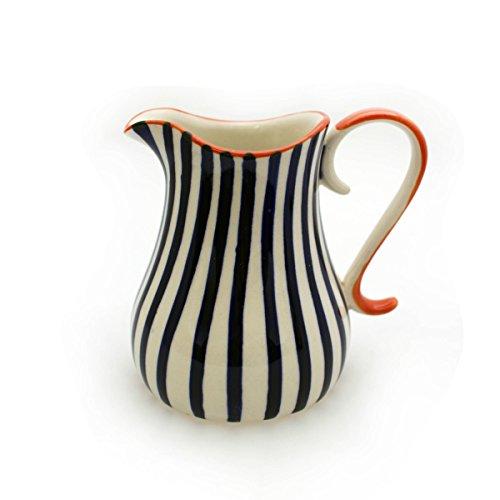 Gall&Zick Milchkanne Milch Kanne Milchkännchen Milchkrug Krug Keramik Bunt Bemalt Sahnekännchen Sahnespender Kännchen (Auswahl) (Dicke Streifen)