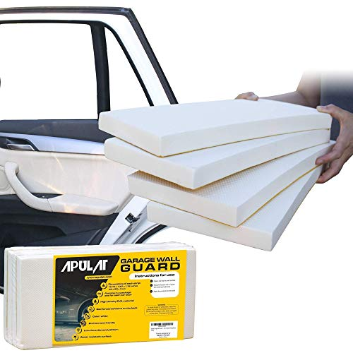 Garage Wall Protector - Guards your Car Doors - 1.18 Inches Thick, 7.87 Inches Wide, 15.74 Inches Long - 4 Self-Adhesive White Foam Padding Bumpers that Protect your Vehicle Doors and Garage Walls