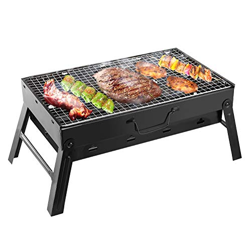 Folding Portable Barbecue Charcoal Grill, Moclever Stainless Steel Small Charcoal Grill, Mini BBQ...