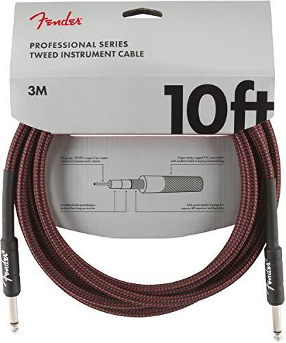 Fender 099-0820-061 Cable de instrumentos de la serie profesional - 10 '- STR/STR - Tweed rojo