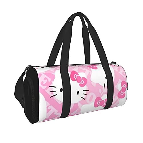Animat Hello Kitty Durable Gym Overnight Travel Men Women Bolsa de lona ligera con bolsillo interior para viajes