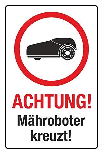 WERBEPUNKT. Schild Achtung Mähroboter Rasenroboter Rasenmäher Hinweisschild 3 mm Alu-Verbund 300 x 200 mm