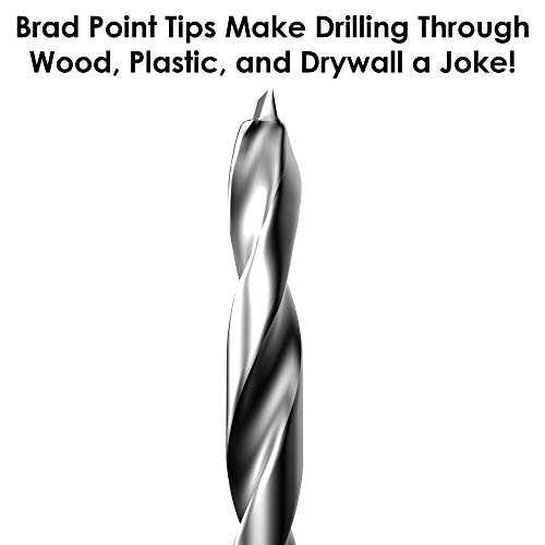 12 Inch Brad Point Drill Bits for Wood (Pack of 10)