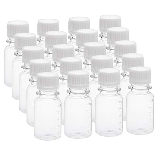 uxcell 1.7 oz/50ml Plastic Lab Chemical Reagent Bottle Small Mouth Liquid/Solid Storage Container Clear Bottles w Tamper Evident Caps 20pcs
