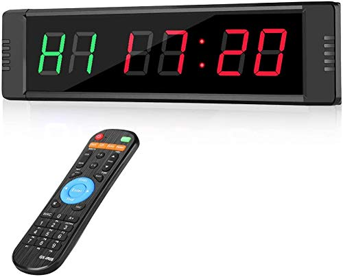 Elikliv Temporizador de Intervalo de Entrenamiento, Temporizador Programable LED Reloj para Fitness con 6 Dígitos Cronómetro de Intervalo(Rojo y Verde)