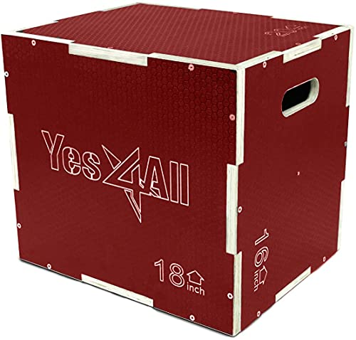 """Yes4All Non-Slip Wooden Plyo Box 20"""" 18"""" 16"""" - Red"""