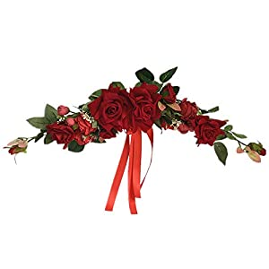 Silk Flower Arrangements LIU Artificial Flower Swag, Hand-Made Floral Simulation Rose Swag Arched Wreath, Used for Wedding Home Front Door Garden Door Decoration