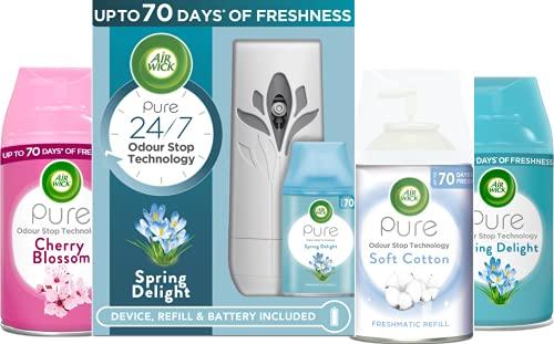 AirWick Air Freshener Freshmatic Pure Auto Spray Bundle, Mixed Fragrances - 1 Gadget + 4 Refills x 250 ml (1000 ml)