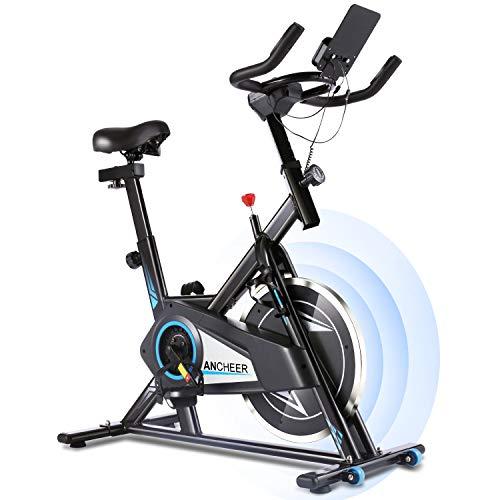 ANCHEER Bicicleta Estática de Spinning Bicicleta Interior Volante 10 kg, Pantalla LCD, Sillín Ajustable, Máximo Usuario120 kg (Negro)