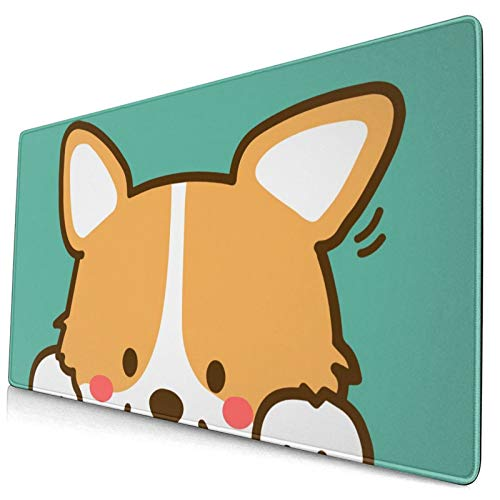 NiYoung Men Mouse Pad Stitched Edge Mousepad Waterproof Cute Corgi Dog Turquoise Green Mousepad for Gaming, Computer, Laptop, PC, Office, Home
