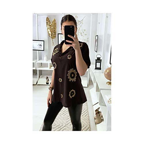 Miss Wear Line – tuniek bruin hemd met strass en borduurwerk vooraan (M-2/3-6561-bruin)