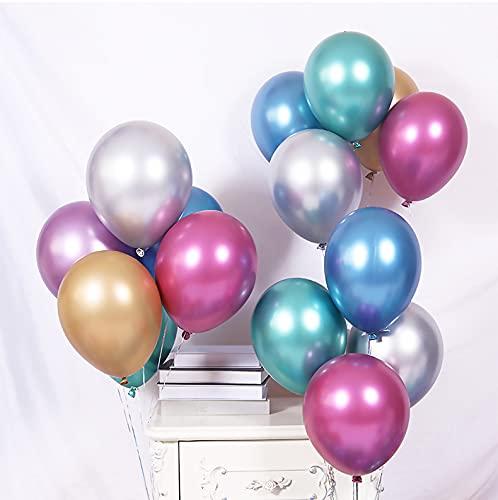 Junqin Feliz cumpleaños Globos Medalla de Oro Decoración de Fiesta, Globos de Oro, Globos de Metal de látex de 10 Pulgadas, Boda, decoración de la Boda, Globos de Fiesta de cumpleaños-Blue 50pcs