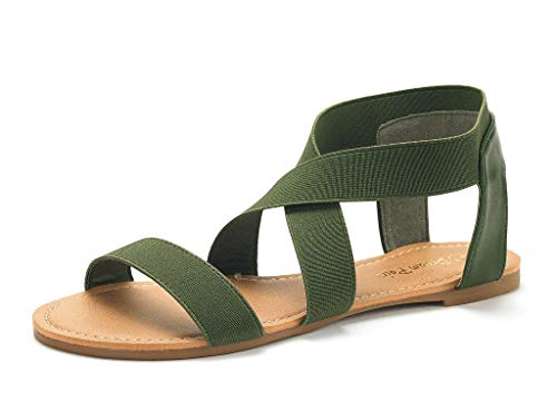 DREAM PAIRS Sandals for Women Elatica-6 Army/Green Elastic Ankle Strap Flat Sandals - 8 M US