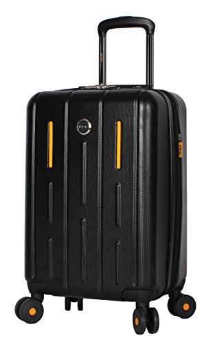 Lucas 20 Inch Carry On Luggage Collection - Expandable Scratch Resistant (ABS + PC) Hardside Suitcase - Designer Lightweight Bag with 8-Rolling Spinner Wheels (Genesis Black)