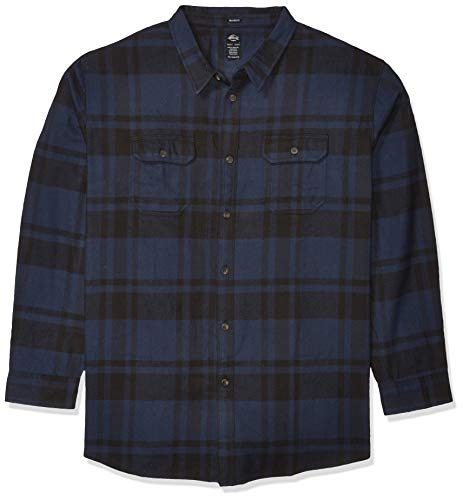 Dickies Herren Long Sleeve Heavyweight Flannel Shirt Button Down Hemd, Marineblau/Schwarz kariert, Mittel