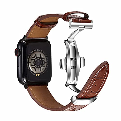 Armband Apple Watch Armband Lederarmband 42mm 44mm Kompatibel mit iWatch Armband Series 7 6 5 4 3 2 1 SE ,Herren Damen Leder Ersatz Armband mit Edelstahl Schmetterlingsschnalle