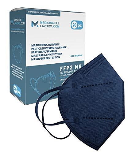 20 Mascarillas FFP2/KN95 Azul Homologadas de Certificación CE sin Válvula de 4 Capas, Máscara Protectora de Polvo y Partículas, Mascarilla de Protección Personal con Filtros de Calidad BFE≥95, 20 Pcs