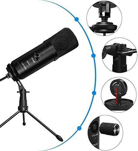 USB Mikrofon, PC Laptop Mikrofon, Kondensator mikrofone + Ständer Studioqualität Aufnahme Microphone USB für podcast, studio, streaming, broadcast, youTube, video, recorder - Schwarz