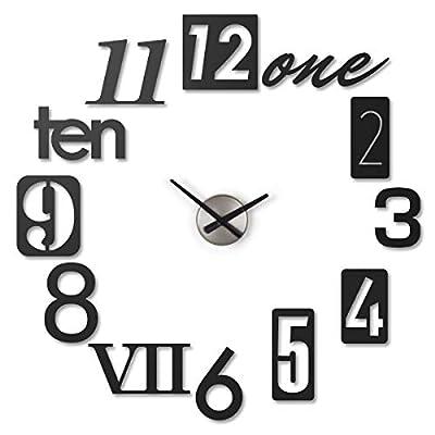 Umbra, Black Numbra Modern DIY 3D, Easy to Paste Sticker Numbers, Frameless Large Decorative Wall Clock